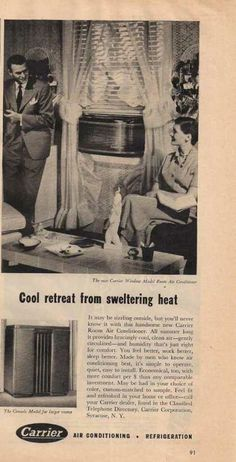 Vintage Household Ads of the (Page Old Advertisements, Advertising, Carrier Air Conditioner, Air Conditioning Companies, Vintage Appliances, Vintage Air, Vintage Windows, Air Conditioners, The Old Days
