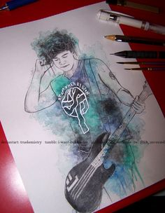 Calum Hood-By TrueKemistry. I like this picture because it has very cool design and the bass looks like the real bass that Calum has. The colors blend really well. The colors stand out really well. Calum Hood, 5sos Drawing, 5sos Fan Art, Cool Drawings, Random Drawings, Drawing Stuff, Drawing Ideas, 1d And 5sos, Second Of Summer