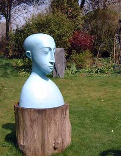 Ceramic/acrylic Busts and Heads Sculptures #sculpture by #sculptor Patricia Volk titled: 'Blue Head and Shoulders' #art