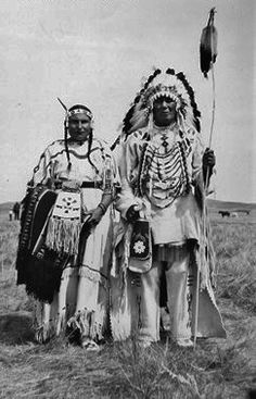 Myrtle Anderson-Calf Robe (Cree/Metis) with her husband, Ben Calf Robe (Siksika Blackfoot) - 1951
