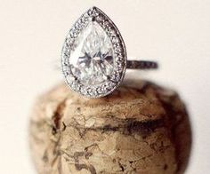 pear shaped + engagement ring
