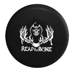 Reap the Bone Antlers Skull Grim Reaper - Jeep Camper Spare Tire Cover - White, Grey, Camo & Flag Options - LV176 by TheCoverGuy on Etsy
