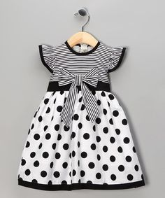 Maggie Peggy Black Polka Dot Stripe Dress - Toddler & Girls | zulily