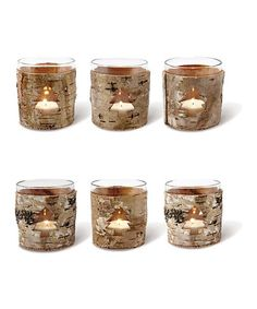 $16.99 Birch Bark Tree Votive - Set of Six by Foreside on #zulily today! #christmas #decor