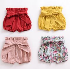 These super cute girls bow shorts have elasticated waist and legs and are available in four of gorgeous summer colours and prints. Material: Cotton Shipping: Expected delivery ideen for teens frauen shorts outfits Toddler Outfits, Boy Outfits, Little Girl Dresses, Girls Dresses, Bow Shorts, Modest Shorts, Nike Shorts, Jean Shorts, Baby Bloomers