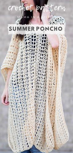 Duster Summer Poncho Free Crochet Pattern Seriously, this cover-up is stunning! I love how it's open and airy and totally on trend. It's a simple. Tunisian Crochet, Crochet Shawl, Crochet Stitches, Free Crochet, Knit Crochet, Simple Crochet, Crochet Cover Up, Nike Tech Fleece, Easy Peasy Shirt