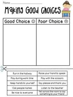 Good Choices vs. Bad Choices--could also be used for Leader in Me ...