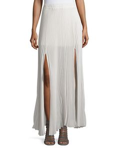 Pleated Semi-Sheer Layered Skirt W/Slits, Vanilla  by Brunello Cucinelli at Neiman Marcus Last Call.