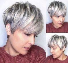 Short Choppy Haircuts, Bob Haircut With Bangs, Short Wavy Hair, Cute Hairstyles For Short Hair, Pixie Hairstyles, Pretty Hairstyles, Curly Hair Styles, Pixie Haircuts, Grey Hair Dark Roots