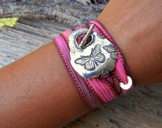 Butterflies Bracelet Butterfly Jewelry Gift for Women Silk Wrap Bracelet Handmade sterling silver toggle clasp silk wrap bracelet by HappyGoLicky Jewelry o Original design handmade in the USA o Sterling Butterfly Gifts, Butterfly Bracelet, Butterfly Jewelry, Boho Jewelry, Jewelry Gifts, Handmade Jewelry, Jewellery, Simple Jewelry, Jewelry Box