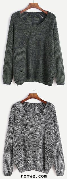 Dropped Shoulder Seam Hollow Pocket Sweater