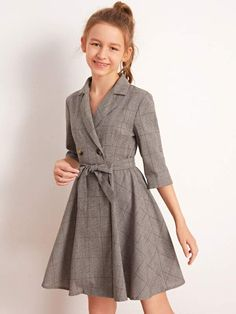To find out about the Girls Lapel Collar Double Breasted Belted Plaid Dress at SHEIN, part of our latest Girls Dresses ready to shop online today! Stylish Dresses For Girls, Little Girl Outfits, Cute Outfits For Kids, Little Girl Fashion, Little Girl Dresses, Pretty Outfits, Pretty Dresses, Casual Dresses, Girls Dresses