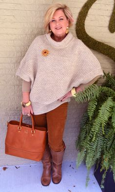 Fashion over 40  Chunky sweater and Corduroy = Fall Perfection