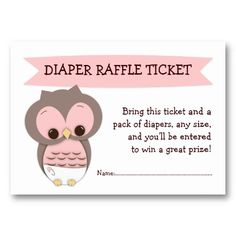 Pink Owl Baby Shower Diaper Raffle Ticket Insert Business Card Template
