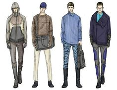 Fashion Illustrator Mengjie Di: Commission from StyleSight Trend ForeCasting Menswear Illustrations ( Photoshop Rendering): Fashion Illustration Sketches, Illustration Mode, Fashion Sketchbook, Fashion Design Sketches, Trend Forecasting, Fashion Art, Fashion Shoes, Fashion Dresses, Fashion Ideas