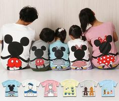 Summer family clothing Cotton family matching outfits cartoon matching mother daughter Disney clothes