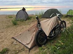 Beach Patrol! with : @pangeaspeed #choppers #rideeverywhere #livin #thelife #beachparty #motocamping #abelbrownco #choppertents