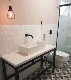 Industrial Scandinavian, Scandinavian Bathroom, Lavatory Design, Checkerboard Floor, Casa Real, Interior Decorating, Interior Design, Dream Decor, Small Bathroom