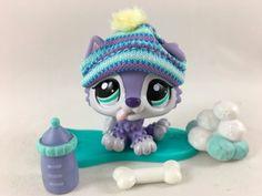 Littlest Pet Shop RARE Purple Husky Puppy #1810 w/Snowboard & Accessories #Hasbro