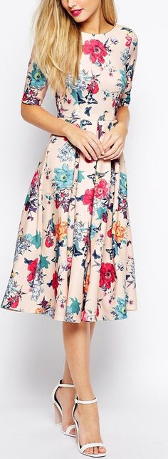 I'm loving this skater skirt/dress trend. Super cute floral dress from ASOS #floral #skaterdress #modest