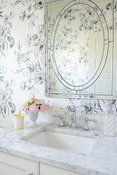 Tracey Ayton Photography - bathrooms - Farrah Nailhead Edge Mirror, venetian mirror, pottery barn mirror, vanity mirror, white vanity, white...
