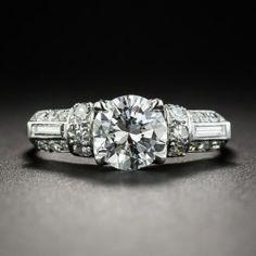 3c2680d1a22d Mid-Century Vintage 1.04 Carat Diamond Platinum Engagement Ring - GIA E VS1