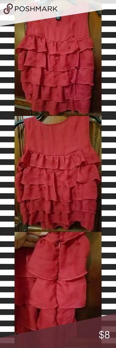 Sleeveless Ruffle Top- LgPetite NWOT- Apostrophe brand red ruffle top. Sheer ruffles are super cute, would go great under a black blazer top or by itself. Has a hidden side zipper. Size is Large Petite. Apostrophe Tops Blouses