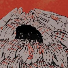 Amber Lynn Seegmiller [thought: painting palms of hands red] Kalluto Zoldyck, Arte Horror, Art Hoe, Aesthetic Art, Dark Art, Art Inspo, Psychedelic, Art Reference, Cool Art