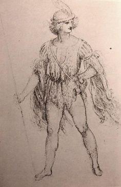 Leonardo da Vinci-Costume per la Festa del Paradiso, che ebbe luogo a Milano nella sala verde superiore del Castello Sforzesco, il 13 gennaio 1490, di Leonardo da Vinci (1452-1519), disegno, Royal Library ,Windsor