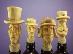 Hand carved wood bottle stoppers wood by OldBearWoodcarving, $20.00
