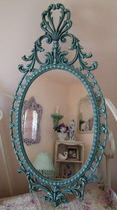 Vintage Wall Mirror Burwood Seafoam Green by WildMountainStudio, $135.00