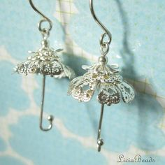April Showers  umbrella earrings sterling silver by LiciaBeads