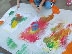 Fly swatter flower paintings - to go with the story The tiny seed and also with Lois Ehlert's Planting a rainbow