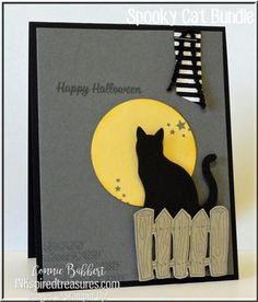 New Spooky Cat stamp set and cat punch from the 2017 Stampin' Up! Holiday Catalog...need a catalog or want to place an order? Check my blog...www.inkspiredtreasures.com! #stampinup, #inkspiredtreasures, #spookycat