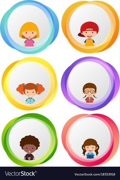 Label designs with happy kids Royalty Free Vector Image
