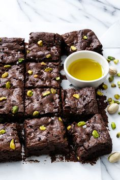 Olive Oil & Pistachio Brownies with Cacao Nibs and Sea Salt. *Note-careful not to over-bake 13 Desserts, Chocolate Desserts, Delicious Desserts, Dessert Recipes, Chocolate Chips, Cacao Chocolate, Dessert Food, Chocolate Brownies, Plated Desserts
