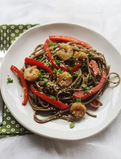 Quick Meal: Sweet and Spicy Soba Noodles (A Beautiful Mess Recipes) Asian Recipes, Healthy Recipes, Ethnic Recipes, Sweet Recipes, Healthy Food, Pasta, Sweet And Spicy Shrimp, Soba Noodles, Shrimp Noodles
