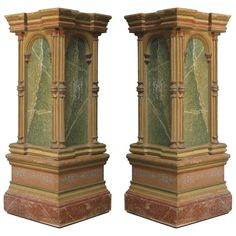 Pair of Polychrome Pedestal Columns - Italy, 19th Century | From a unique collection of antique and modern pedestals and columns at https://www.1stdibs.com/furniture/building-garden/pedestals-columns/