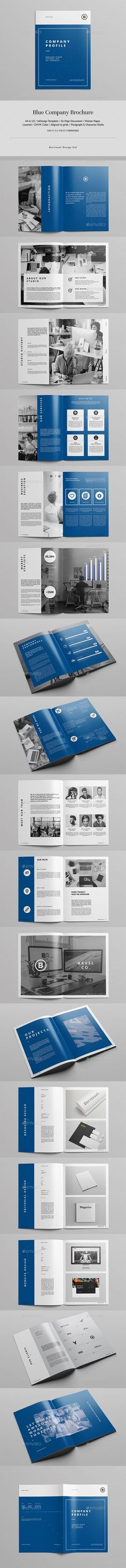 Blue Company Brochure Template InDesign INDD - 36 Pages A4 & US Letter Size