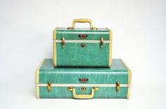 Sea Foam Green Samsonite Suitcase by thewhitepepper on Etsy, $72.50