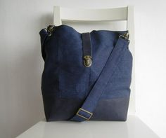 Leather and Navy Blue Canvas Bag by rutinet on Etsy