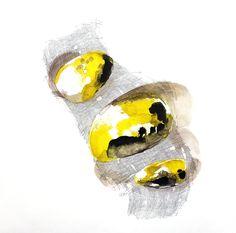 Minéral jaune  Encre sur papier 60 x 60 cm