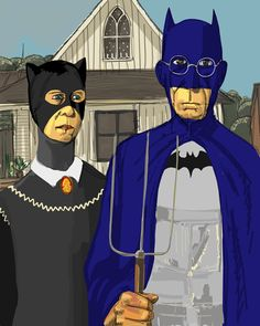 painting by Grant Wood American Gothic Painting, American Gothic House, Grant Wood American Gothic, American Gothic Parody, American Art, Rocky Horror, Jean Grey, Harley Quinn, Nostalgia Art