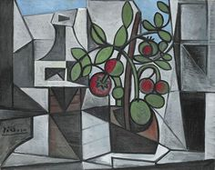 Pablo Picasso - Carafe and tomato plant, 1944 Pablo Picasso Quotes, Picasso Art, Picasso Paintings, Oil Paintings, Famous Spanish Artists, Carafe, Cubist Movement, Georges Braque, Spanish Painters