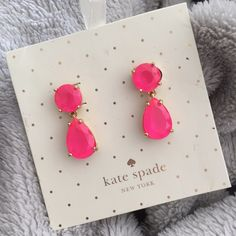 NWOT Kate Spade Pink Drop Earrings Brand new never worn without tags. Pink Kate Spade drop earrings. So cute, just never got around to wearing. Great color pop with all black! Approx. one inch long. kate spade Jewelry Earrings