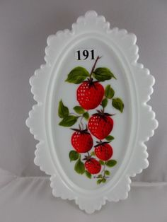 fenton strawberry | ... (only); hp by Louise Piper; Strawberry decoration; dated: 8-24-82