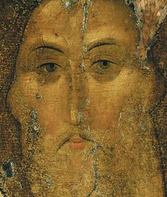Russian art / Andrei Rublev / The Saviour. The icon from the Deisus Chin (Row), of Assumption Cathedral on the Gorodok in Zvenigorod. Religious Images, Religious Icons, Religious Art, Byzantine Icons, Byzantine Art, Russian Icons, Russian Art, Andrei Rublev, Fresco