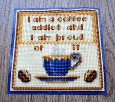 Cross stitch plastic canvas padI am a coffee addict by DannyWorks, $12.00