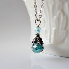 Teal Necklace Crystal Pendant Faceted Bead Aqua Czech Glass Antiqued Silver Beaded Jewelry via Etsy