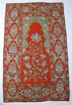 Cover or Hanging Object Name: Cover or hanging Date: early 19th century Geography: Turkey Culture: Islamic Medium: Wool, silk, metal wrapped thread; twill weave, embroidered